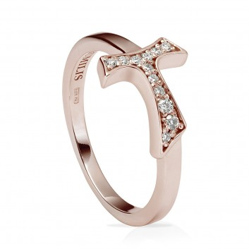 Humilis rose gold plated sterling silver sign ring with zirconia
