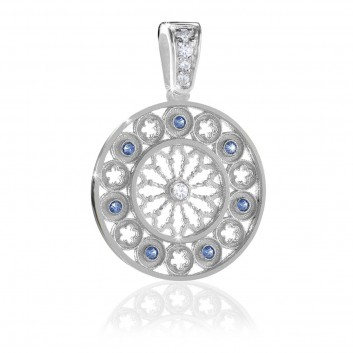 AQUA rose window silver pendant