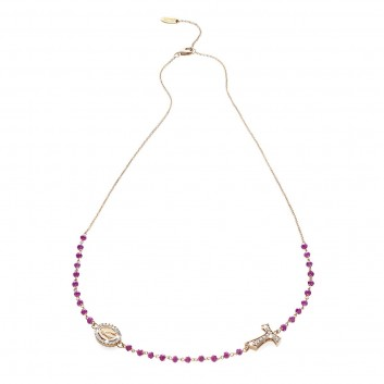 Collana rosario in oro rosa 18 kt