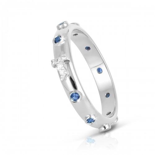 Humilis anello rosario AQUA in argento