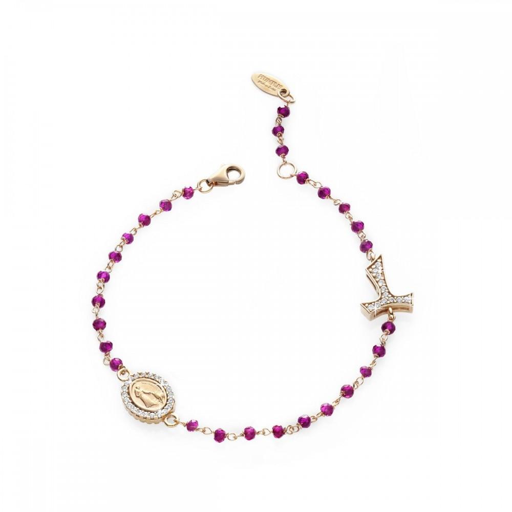 Bracciale rosario in oro rosa 18 kt