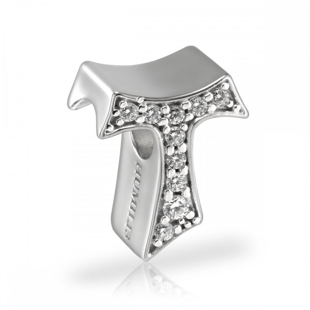 Humilis charm Tau in argento e zirconi