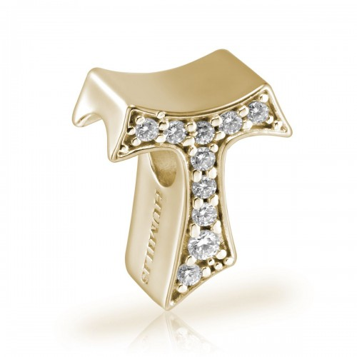 Humilis sterling silver Tau charm with zirconia