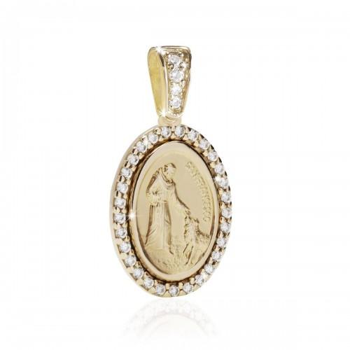 Medaglia di S. Francesco con il lupo in oro