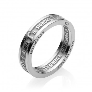 Humilis anello BENEDIZIONE DI SAN FRANCESCO in argento rodiato