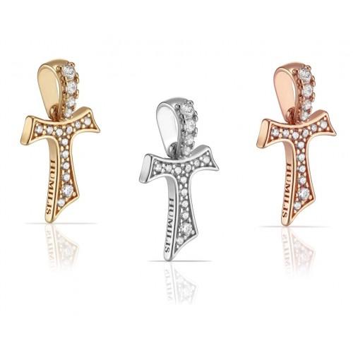 Humilis Croce Tau in argento e zirconi