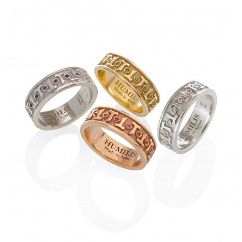 Humilis anello classico AQUA in oro bianco