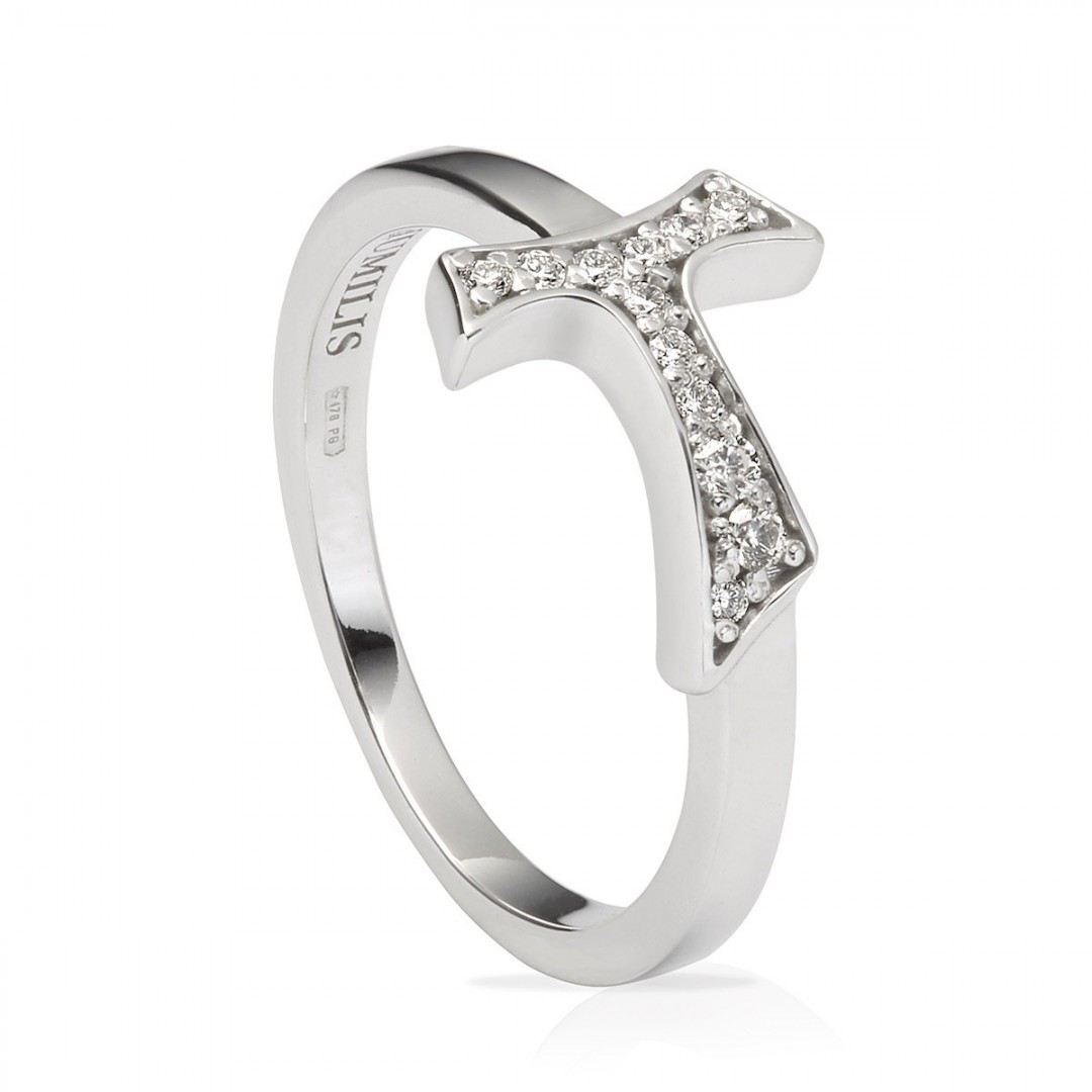 Humilis sterling silver sign ring with zirconia