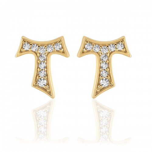 Humilis yellow gold plated sterling silver earrings with zirconia