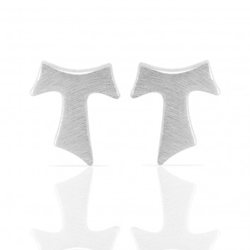 Humilis white gold satin earrings
