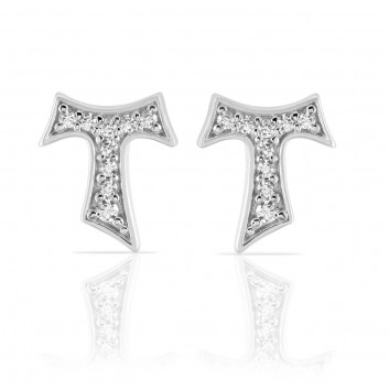 Humilis white gold earrings with zirconia