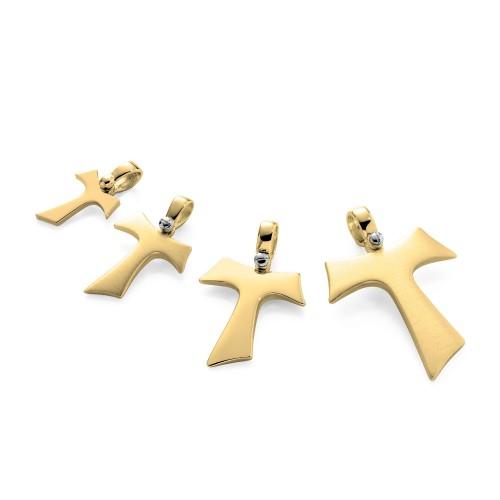 Humilis Croce Tau in oro giallo