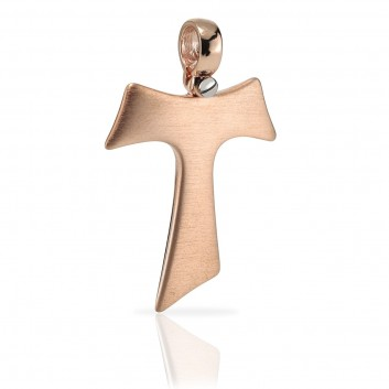 Humilis rose gold satin Tau cross