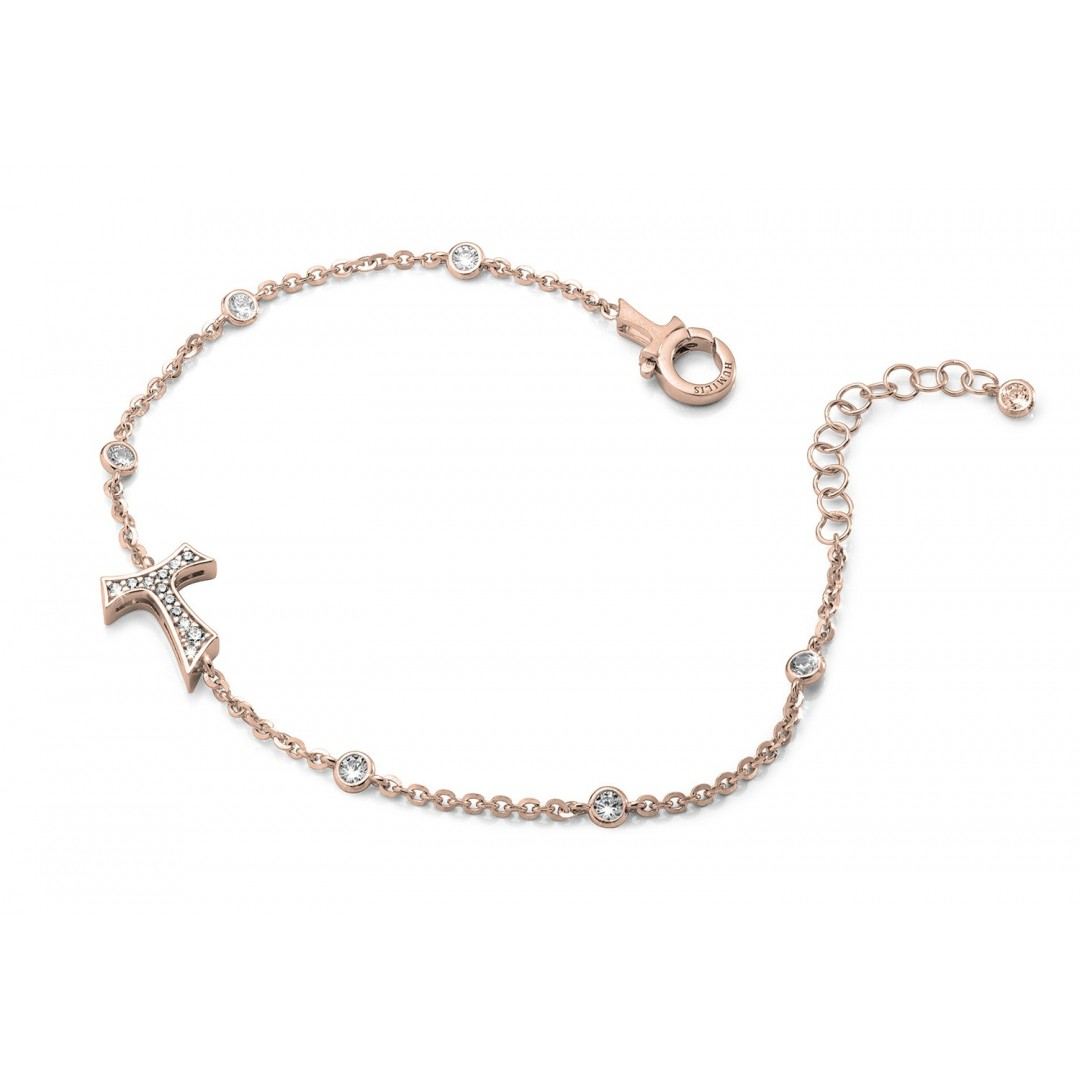 Humilis bracciale in argento placcato oro rosa con zirconi