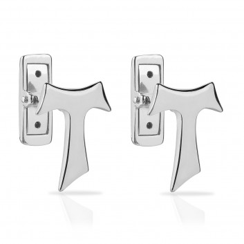 Humilis white gold Tau cufflinks