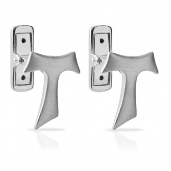 Humilis satin white gold Tau cufflinks