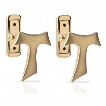 Humilis satin yellow gold Tau cufflinks