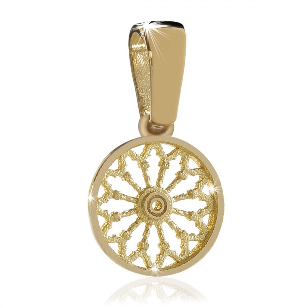 Pendente rosone di Assisi in argento placcato oro giallo