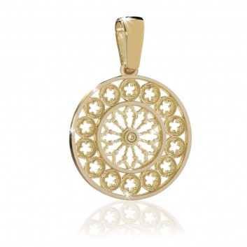 Gold plated sterling silver rose window jewel