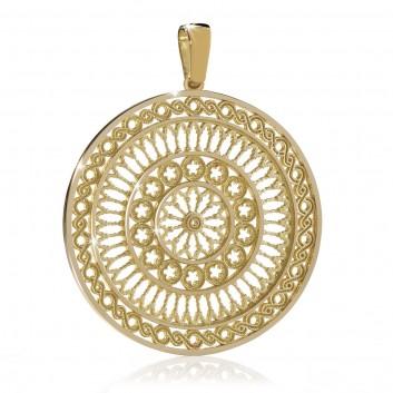 Humilis pendente rosone in argento placcato oro giallo