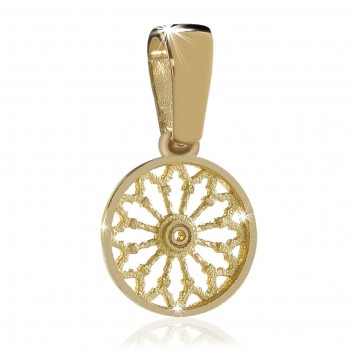 Rose window pendant - yellow gold