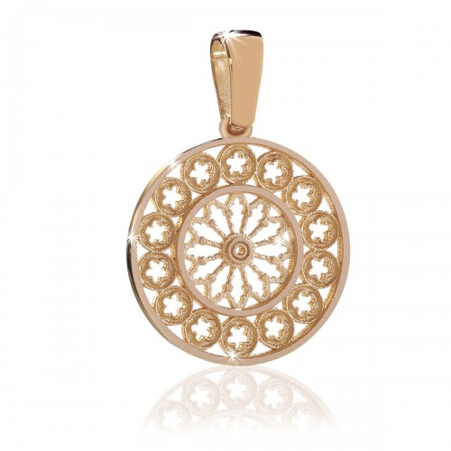 Rosone di Assisi - gioiello ciondolo in oro rosa