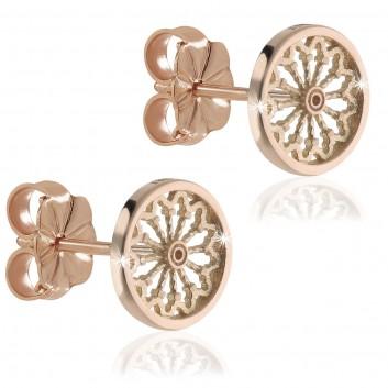 Orecchini rosoni in argento placcato oro rosa