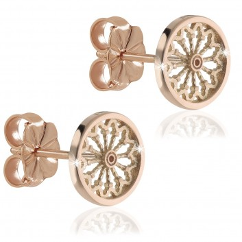 rose window earrings in rose gold plated silver