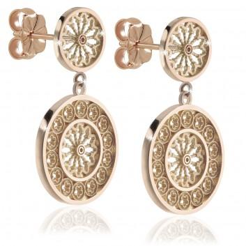 Rosoni gioielli orecchini in argento placcato oro rosa