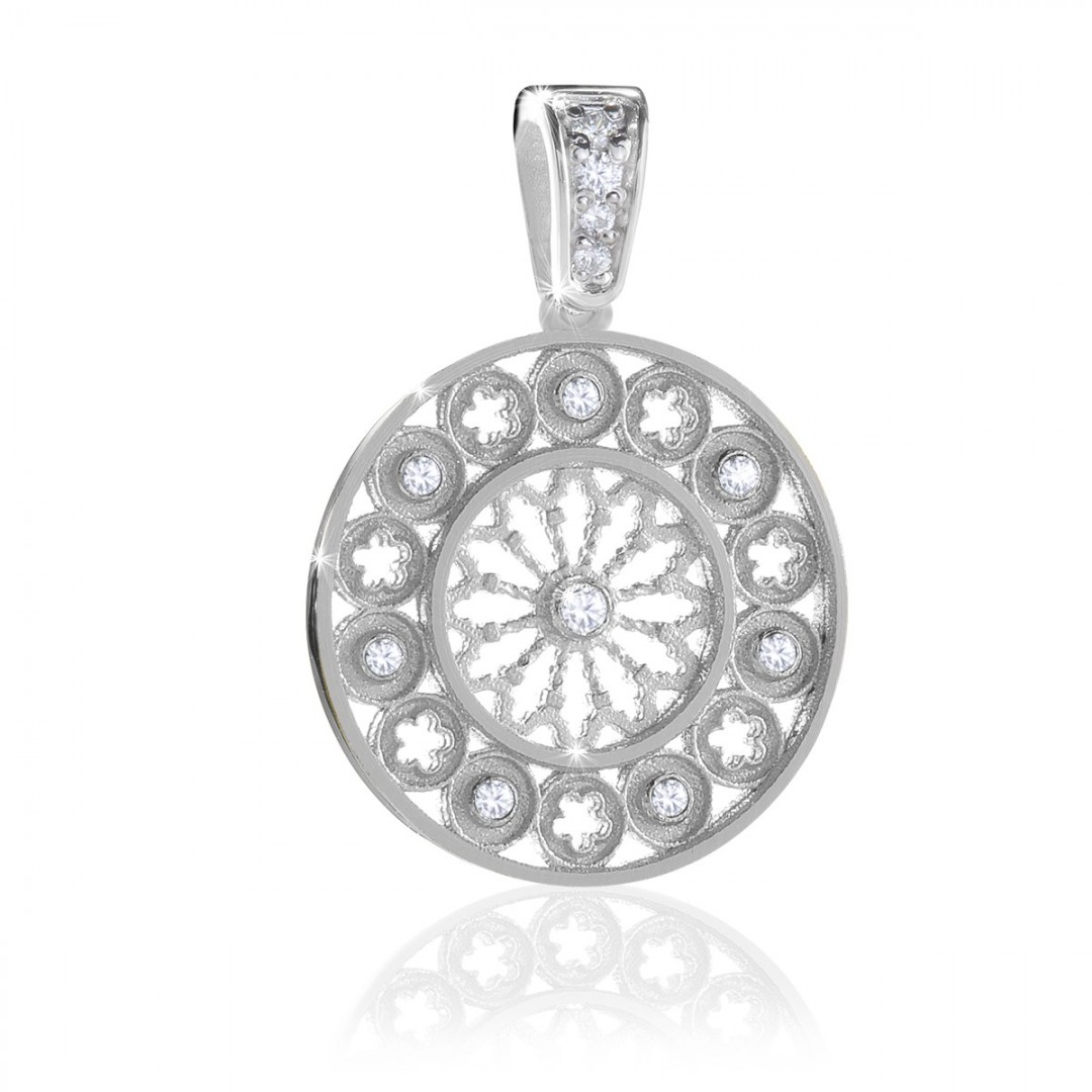 white gold rose window charm AERE