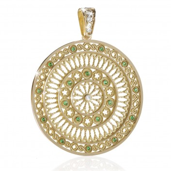 yellow gold TERRA rose window pendant