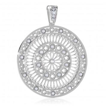 White gold AERE rose window pendant