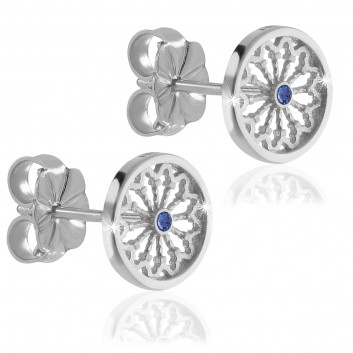 Sterling silver AQUA rose window of Assisi earrings