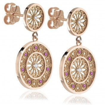 FOCU rose window silver earrings - Made in Assisi