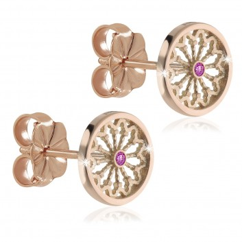Rose gold FOCU rose window jewels earrings