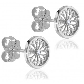 Rose window of Assisi - white gold AERE earrings