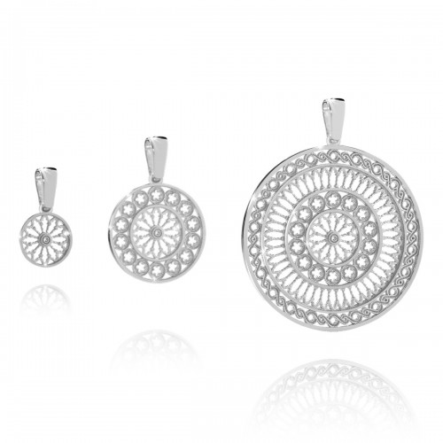 Rose window pendant charm in white gold