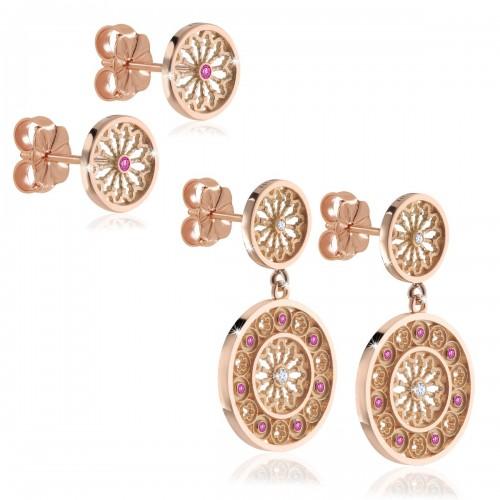 Orecchini rosoni gioielli FOCU in oro rosa