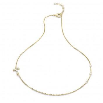 Humilis collana in argento placcato oro giallo con zirconi