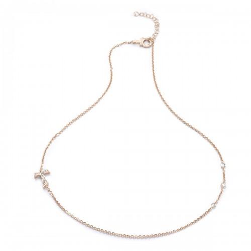 Humilis collana in argento placcato oro rosa con zirconi