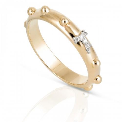 Humilis anello rosario in oro giallo e diamanti