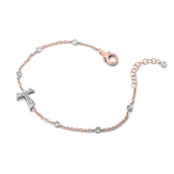 Humilis bracciale in oro rosa e bianco con zirconi