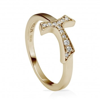 Humilis anello segno in argento placcato oro giallo e zirconi