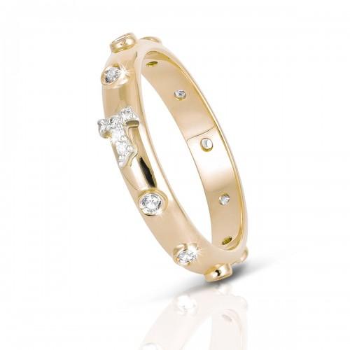 Humilis anello rosario in oro giallo e zirconi