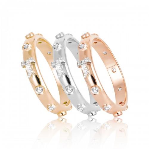 Humilis anello rosario in oro rosa e zirconi
