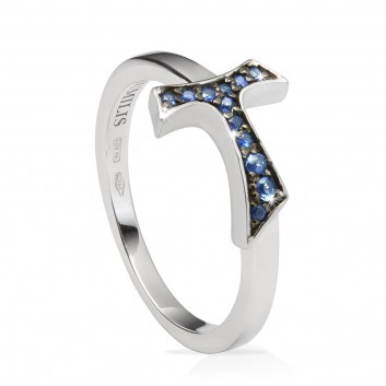 Humilis white gold AQUA sign ring